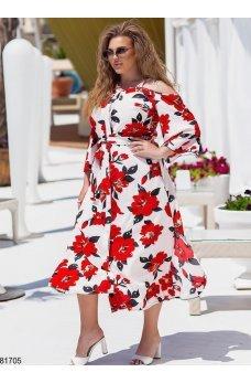 Яркий летний сарафан красные цветы на белом