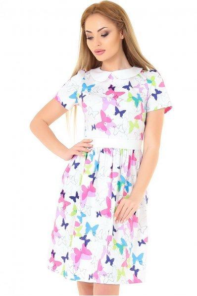 Легкое платье с пышной юбкой белого с малиновым цвета