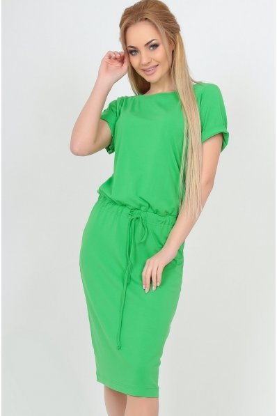 Летнее платье миди с кулиской зеленое