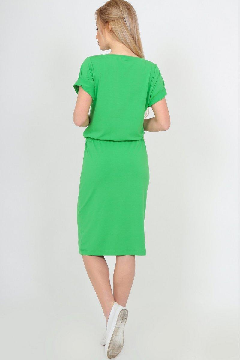 14280ca8759 Летнее платье миди с кулиской зеленое