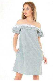 Летнее платье трапеция в бело-зеленую полоску