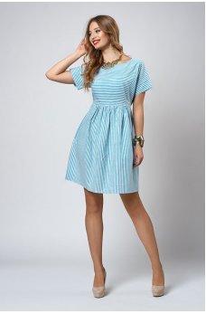 Летнее платье в бирюзовую полоску