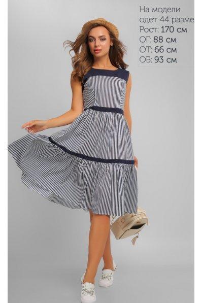 Летнее хлопковое платье в синюю полоску