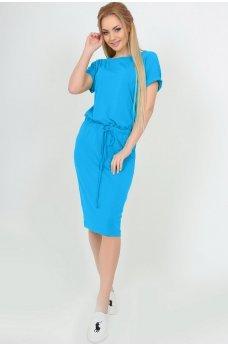 Летнее платье миди с кулиской голубое