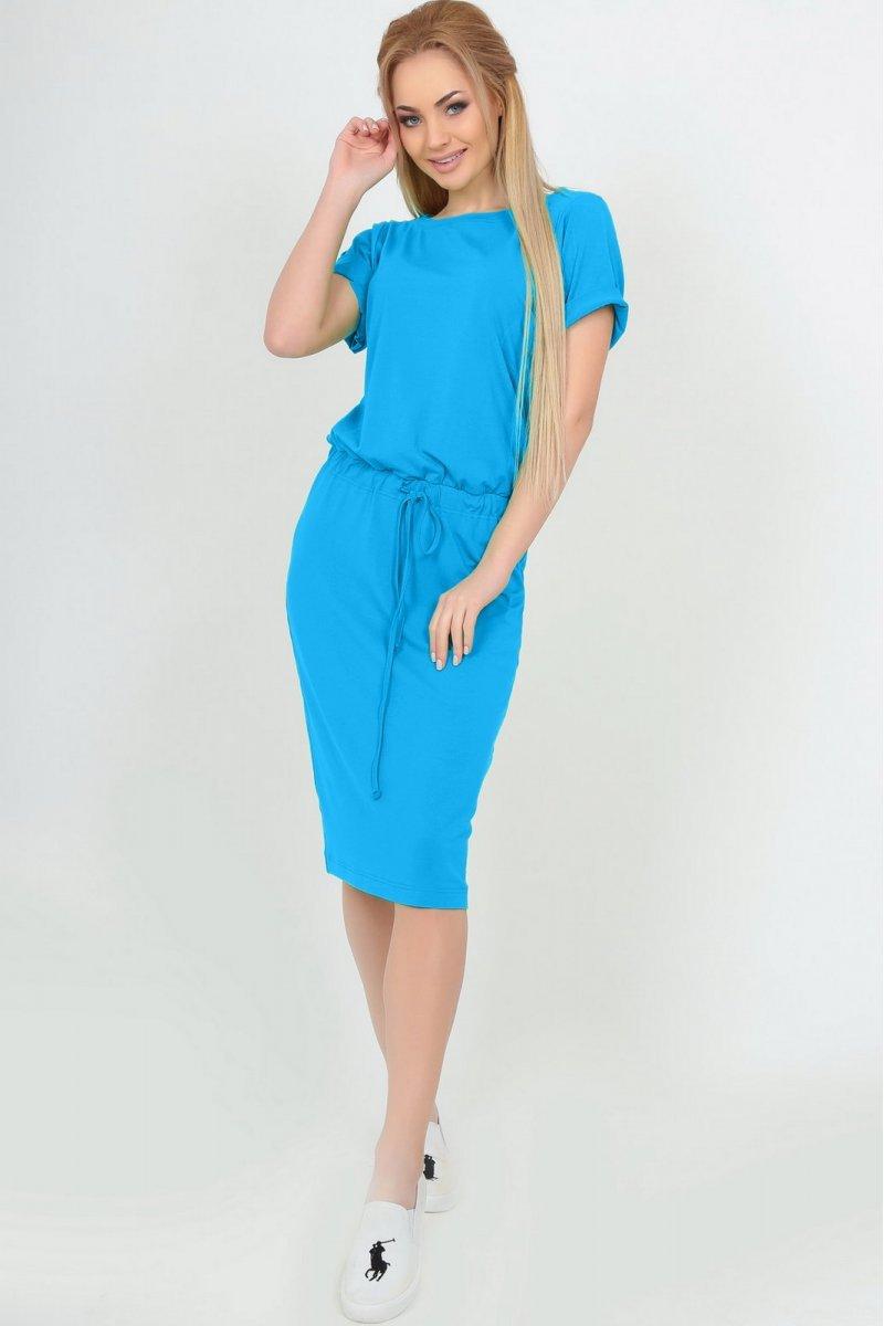 d1cc1e8d43b Летнее платье миди с кулиской голубое