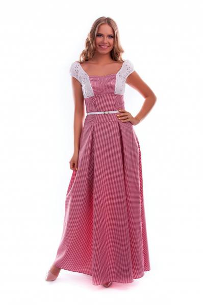 Длинное летнее платье в клеточку красное