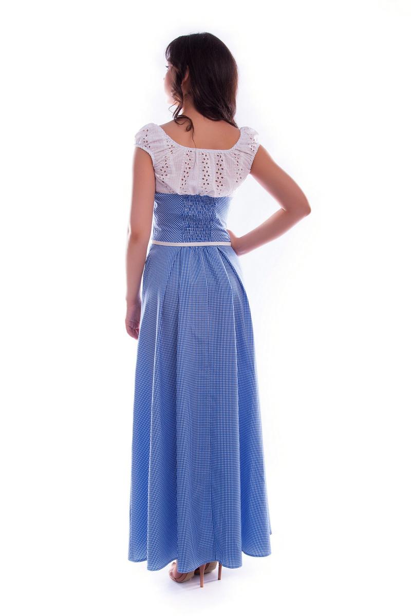 0a864ed6fded96 Купити плаття - Довге літнє плаття в клітинку синє