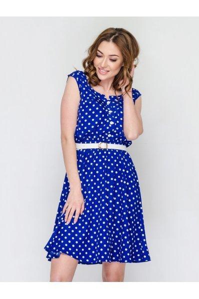 Летнее синее платье в горошек из штапеля