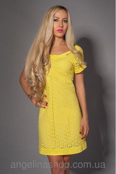 Летнее яркое желтое платье из прошвы