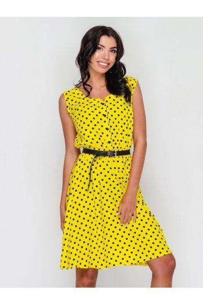 Летнее желтое платье в горошек из штапеля