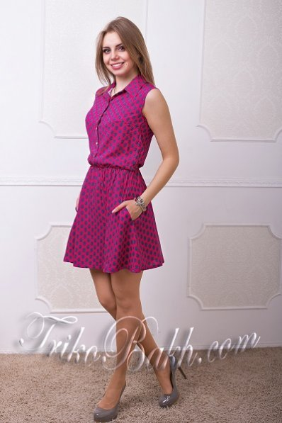 Летнее малиновое платье штапель