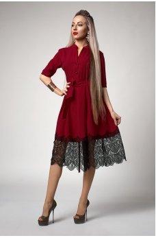 Платье цвета марсала с кружевным подолом