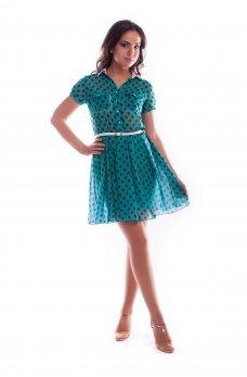 Мятное шифоновое платье в горошек
