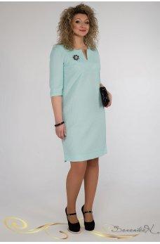Элегантное мятное платье жаккард