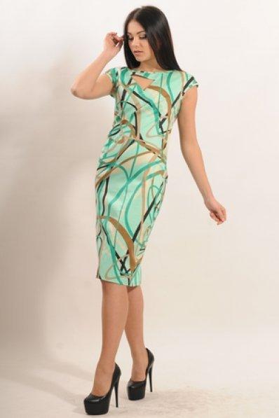 Прилегающее мятное платье с принтом