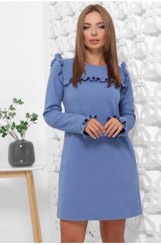 Платье джинсового цвета с рюшами