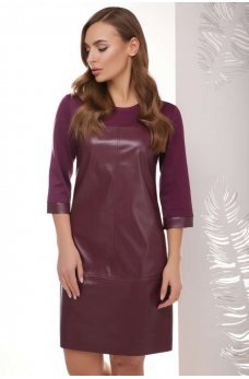 Комбинированное баклажанновое платье с эко кожи и джерси