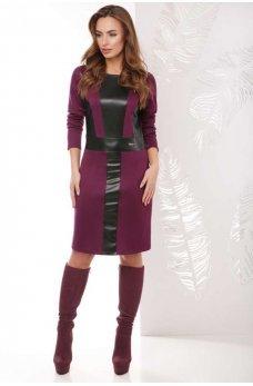 Бордовое стильное платье со вставками из эко-кожи