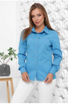 Бирюзовая коттоновая рубашка в горошек