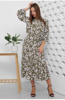 Платье миди оливкового цвета в цветочек