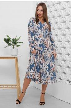 Весеннее платье синего цвета в цветочек