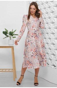 Весеннее платье бежевого цвета в цветочек