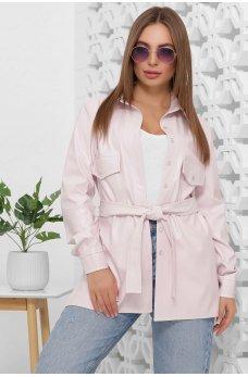 Женская рубашка из эко-кожи нежно-розового цвета
