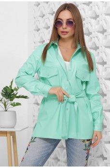 Женская рубашка из эко-кожи мятного цвета