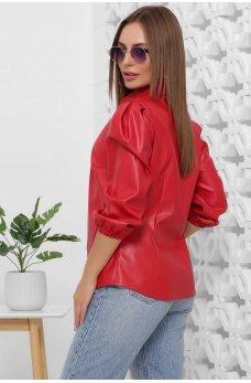 Женская красная блуза из эко-кожи