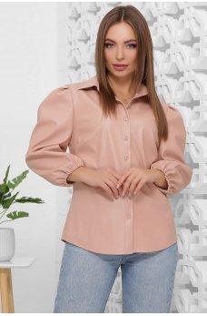 Женская пудровая блуза из эко-кожи