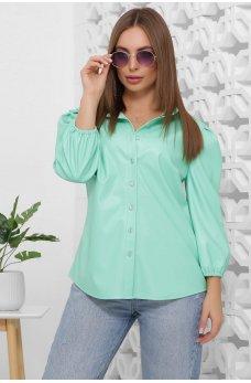 Женская мятная блуза из эко-кожи