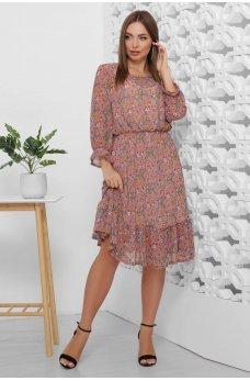 Весеннее шифоновое платье в сиреневых цветах