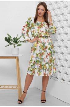 Весеннее платье из штапеля яркие цветы на белом фоне