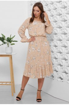 Весеннее платье из штапеля нежные цветы на бежевом фоне
