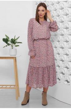 Модное шифоновое платье миди длины сливовое