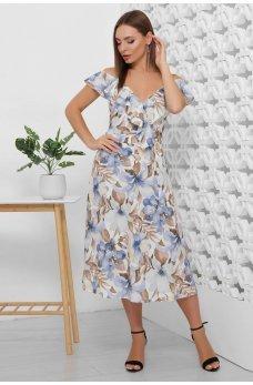Нежное платье с цветочным принтом голубое
