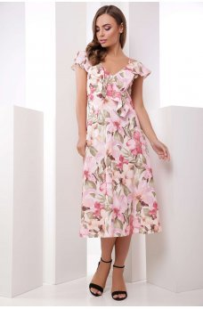 Нежное платье с цветочным принтом розовое