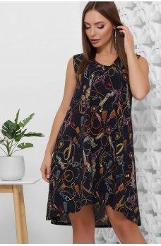 Короткое темно-синее платье трапеция с ассиметрическим подолом