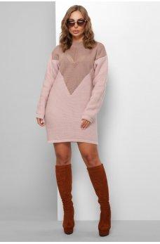 Вязаное двухцветное платье фрез-пудра