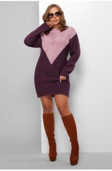 Вязаное двухцветное платье лиловый-фиолетовый