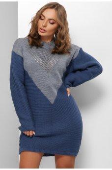 Вязаное двухцветное платье джинс-синий