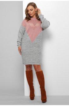 Вязаное двухцветное платье серый-пудра