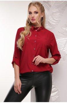Бордовая яркая женственная блуза батал