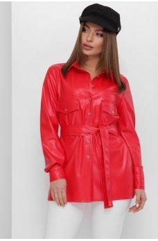 Красная яркая кожаная рубашка с поясом