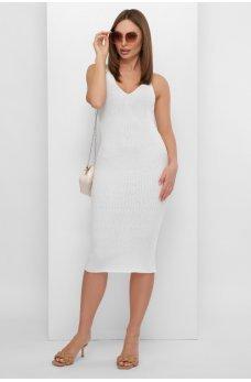 Актуальное женское платье миди молочного цвета