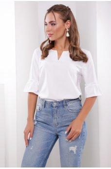 Белая изысканная женская блуза