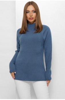 Женский мягкий свитер джинсового цвета