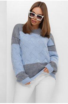 Лаконичный трендовый свитер синих оттенков