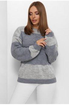 Двухцветный оригинальный вязаный свитер