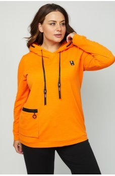 Оранжевое яркое спортивное худи батал